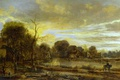 Picture landscape, River Landscape with Village, Aert van der Neer, Art van der NEER, nature, picture