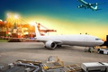 Picture asphalt, lights, transport, the evening, port, flies, aircraft, in the sky, cranes, container