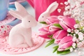 Picture flowers, spring, Easter, tulips, happy, pink, flowers, tulips, spring, Easter, eggs, bunny, delicate, decoration, pastel