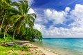 Picture sand, sea, the sky, the sun, clouds, trees, tropics, palm trees, shore, boats, horizon