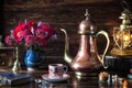 Picture coffee grinder, lantern, glasses, still life, lamp, coffee, bouquet, books, style, coffee pot, flowers