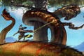 Picture snakes, animal, tree, The Battle, fight