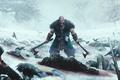 Picture axe, sword, blood, ice, war, crow, dead, snow, man, ken, blade, death, viking, angry, berserk, ...