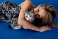 Picture Haley Bennett, photoshoot, Haley Bennett, makeup, It, beauty, brown hair, background, lies, dress, blue, 2016, ...