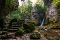 Picture stones, rocks, stream, greens, stage, moss, trees, waterfall, ladder, Switzerland