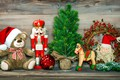 Picture branches, red, holiday, toys, ball, Christmas, bear, New year, Santa Claus, herringbone, coniferous, Christmas, horse, ...