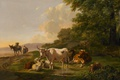 Picture Landscape with Cattle, cow, oil, Pieter Gerardus van OS, animals, picture, tree