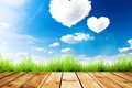 Picture greens, summer, the sky, grass, the sun, clouds, Board, hearts, Valentine's day