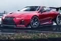 Picture car, Lexus, red, logo, race, speed, asphalt, fast, Lexus LC 500