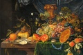Picture oil, picture, Still life with Fruit and Oysters, Abraham Mignon, canvas