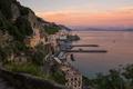 Picture sea, landscape, home, pier, Italy, Amalfi