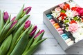 Picture box, roses, cookies, tulips, Chrysanthemum, Wild flowers
