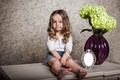 Picture flowers, mirror, girl, table, vase, child, hydrangea