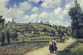 Picture Camille Pissarro, people, road, Landscape near PONTOISE. Overs Road, hills, picture