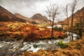 Picture autumn, clouds, trees, mountains, river, Scotland, Scottish highlands