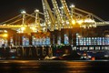 Picture port, The ship, cranes, A container ship, lights