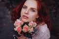 Picture roses, redhead, red, mood, girl, look, flowers