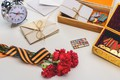 Picture clove, May 9, St. George ribbon, letters, victory day, medals, holiday, flowers