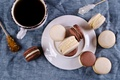 Picture coffee, cookies, Cup, cream, dessert, cakes, sweet, coffee cup, cookies, macaron, almond, macaroon