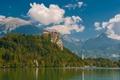 Picture Slovenia, lake, rock, castle, Slovenia, Radovljica, mountains, lake Bled