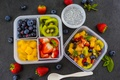 Picture strawberry, fresh berries, pineapple, yogurt, berries, blueberries, dessert, kiwi, fruit