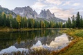 Picture autumn, forest, grass, water, trees, mountains, lake, reflection, rocks, Italy, Lake Antorno