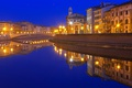 Picture river, night, Tuscany, lights, home, Italy, Pisa, Arno, bridge