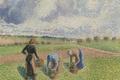 Picture pointillism, Camille Pissarro, genre, picture, Farmers Harvest The Grass. Eragny