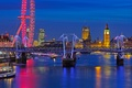 Picture night, bridge, lights, England, London, Ferris wheel