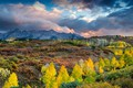 Picture Colorado, mountains, trees, autumn, clouds, USA