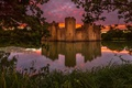 Picture sunset, pond, grass, foliage, water, the evening, castle, branches, England, trees, Bodiam Castle, reflection