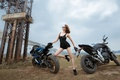 Picture girl, motorcycles, pose