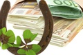 Picture clover, horseshoe, money, Euro