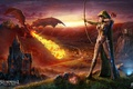 Picture fire, flame, game, weapon, dragon, castle, elf, bow, warrior, arrow, oppai, hood, spark, dagger, Storm ...