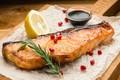 Picture salmon, lemon, sauce, garnet, rosemary, fish