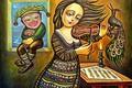 Picture clown, Woman, violinist, Of Sevad Grigoryan, Moonlight Sonata