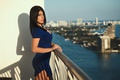 Picture view, bokeh, makeup, beauty, home, dress, sexy, balcony, the sun, girl, brunette, sea, hairstyle, the ...