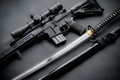 Picture assault rifle, optics, katana, arm, sword, style
