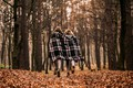 Picture forest, plaid, girls, cold, autumn