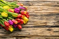 Picture flowers, bouquet, spring, colorful, tulips, fresh, wood, flowers, beautiful, tulips, spring, bright