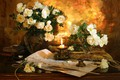 Picture pen, roses, candle, still life, the manuscript, ink