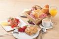 Picture strawberry, breakfast, Breakfast, ham, bread, cheese, berries, coffee, juice, cakes