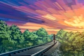 Picture nature, liwei191, rails, girl, the sky