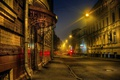 Picture road, night, house, street, HDR, lights, Moscow, Russia, Moscow