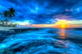 Picture sunset, The Pacific ocean, tropics, the ocean, Hawaii, Hawaii, Pacific Ocean, palm trees