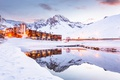 Picture winter, snow, mountains, lake, France, Alps, the hotel, resort, Tignes
