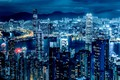 Picture night, Hong Kong, skyscrapers, panorama