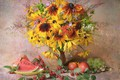 Picture summer, bouquet, fruit, still life, composition, July, rudbeckia