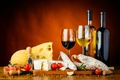 Picture spices, glasses, sausage, knife, bacon, cheese, cheese, tomatoes, wine, wine, sausage, Board, tomatoes