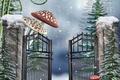 Picture winter, snow, trees, snowflakes, mushrooms, Amanita, wicket
